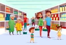 Acquisto della famiglia della gente nell'illustrazione del fumetto di vettore del supermercato illustrazione vettoriale