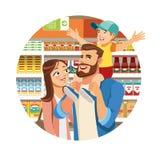 Acquisto della famiglia nell'icona di vettore del fumetto della drogheria illustrazione vettoriale