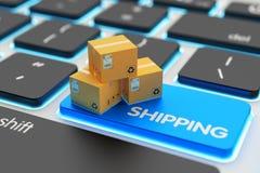 Acquisto di Internet, acquisti online, commercio elettronico, consegna dei pacchetti e concetto di servizio di trasporto illustrazione vettoriale