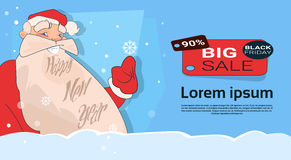 Acquisto di Santa Clause Big Holiday Sale Black Friday Fotografie Stock Libere da Diritti