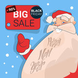 Acquisto di Santa Clause Big Holiday Sale Black Friday Fotografia Stock