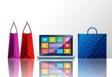 Acquisto e borse di Internet Immagine Stock