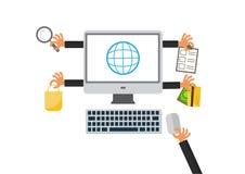 Acquisto e commercio elettronico online Affare, vendita, pagamento e consegna del prodotto Commercio elettronico Immagine Stock