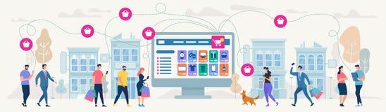 Acquisto e rete online Illustrazione di vettore illustrazione vettoriale