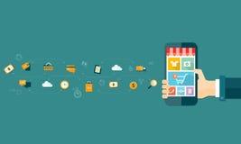 Acquisto ed e-introduzione sul mercato online mobili di affari sul cellulare Fotografie Stock