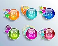 Acquisto fissato insegne di vendita di etichette di vendita Fotografia Stock