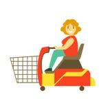 Acquisto handicappato con il motorino di mobilità, illustrazione variopinta di vettore del carattere illustrazione di stock