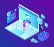 Acquisto in linea deposito online isometrico 3D Comperando online sull'applicazione del cellulare o del sito Web Concetto delle v illustrazione di stock