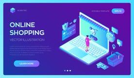 Acquisto in linea deposito online isometrico 3D Comperando online sull'applicazione del cellulare o del sito Web Concetto delle v illustrazione vettoriale