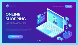 Acquisto in linea deposito online isometrico 3D Comperando online sull'applicazione del cellulare o del sito Web Concetto delle v royalty illustrazione gratis