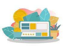 Acquisto in linea Modello della pagina di atterraggio Concetto piano moderno per web design illustrazione vettoriale