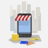 Acquisto in linea Smartphone Immagine Stock Libera da Diritti