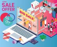 Acquisto mega di vendita in un concetto isometrico del materiale illustrativo del centro commerciale illustrazione di stock
