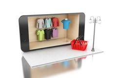 acquisto mobile online 3d Fotografia Stock Libera da Diritti