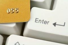 Acquisto o attività bancarie in linea di concetto Fotografia Stock
