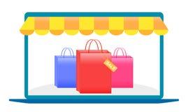 Acquisto online, computer portatile, acquisto con un computer portatile sopra Internet, imballante per gli acquisti, prodotti, fo illustrazione vettoriale