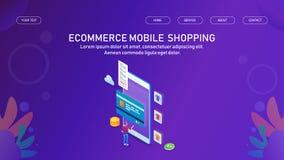 Acquisto online da un'applicazione mobile, da un app digitale del ecvommerce, da un'introduzione sul mercato e da un concetto di  royalty illustrazione gratis