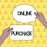 Acquisto online del testo della scrittura Il significato di concetto acquista le merci di commercio elettronico su Internet dal i royalty illustrazione gratis