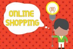Acquisto online del testo di scrittura di parola Il concetto di affari per permette che i consumatori comprino le loro merci su I illustrazione di stock