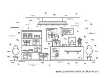 Acquisto online della raccolta lineare del pacchetto, illustrazione di vettore di reclamo del pacchetto Fotografia Stock Libera da Diritti