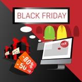 Acquisto online di Black Friday di grande vendita di festa del computer Immagini Stock Libere da Diritti