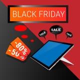 Acquisto online di Black Friday di grande vendita di festa del computer della compressa Fotografia Stock Libera da Diritti