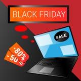 Acquisto online di Black Friday di grande vendita di festa del computer portatile Immagine Stock Libera da Diritti