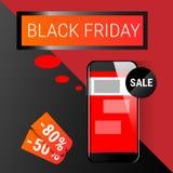 Acquisto online di Black Friday di grande vendita di festa dello Smart Phone delle cellule Immagine Stock