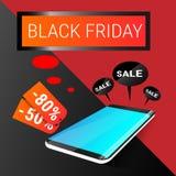 Acquisto online di Black Friday di grande vendita di festa dello Smart Phone delle cellule Fotografia Stock Libera da Diritti