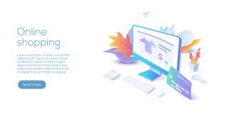 Acquisto online o illustrazione isometrica di vettore di commercio elettronico interno illustrazione di stock