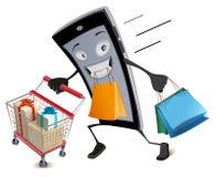 Acquisto virtuale di Black Friday Funzionamenti allegri dello smartphone con il cestino della spesa e le borse Fotografie Stock