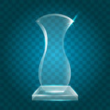 Acrílico en blanco brillante transparente Crystal Glass Trophy Aw del vector Foto de archivo libre de regalías