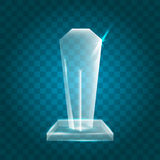 Acrílico en blanco brillante transparente Crystal Glass Trophy Aw del vector Imagen de archivo
