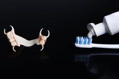 Acrílico líquido da dentadura do fecho Fotografia de Stock