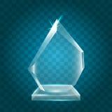 Acrílico vazio de brilho transparente Crystal Glass Trophy Aw do vetor ilustração stock