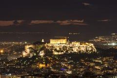 Acrópole de Atenas na noite Imagens de Stock