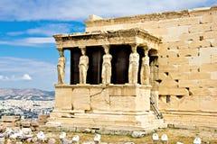 Acrópole de Atenas, o Erechtheum Fotografia de Stock Royalty Free