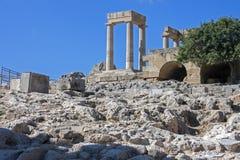 A acrópole de Lindos, o Rodes Imagem de Stock