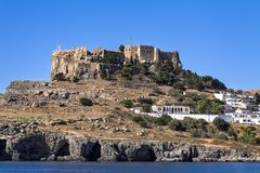 Acrópole de Lindos, Rhodes Greece imagens de stock royalty free