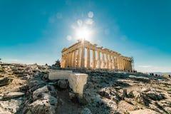 Acrópole do Partenon do lugar arqueológico de Atenas foto de stock