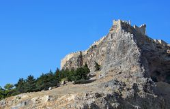 Acrópolis antigua en la isla de Rodas Imagenes de archivo
