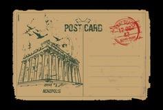Acrópolis Atenas, Grecia diseño de la postal Stock de ilustración
