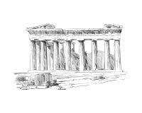Acrópolis de Atenas El Parthenon atenas Grecia Bosquejo drenado mano Ilustración del vector Ilustración del Vector