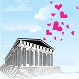 Acrópolis de Grecia con el símbolo del corazón del día de tarjetas del día de San Valentín Ilustración del Vector