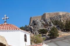 Acrópolis de la iglesia de Lindos Fotografía de archivo libre de regalías