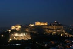 Acrópolis de la noche Imágenes de archivo libres de regalías