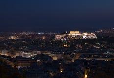 Acrópolis de la noche de Grecia Atenas Imágenes de archivo libres de regalías