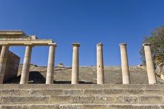 Acrópolis de Lindos en la isla de Rodas, Greec Imagenes de archivo