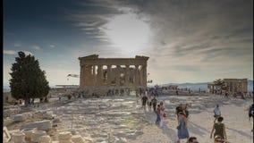 Acrópolis del lapso de tiempo de Atenas 4k desde adentro almacen de metraje de vídeo