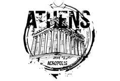 Acrópolis Diseño de la ciudad de Atenas, Grecia Stock de ilustración